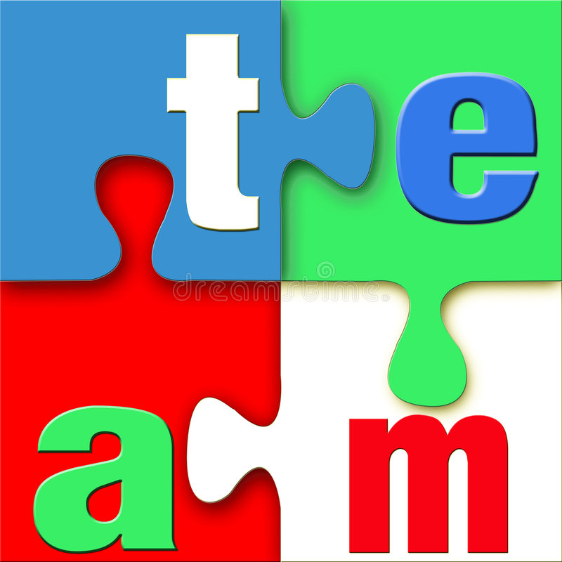 Team Puzzle. The word team in letters connected in a colorful puzzle with blue, green, white, and red. Vivid, clean, crisp, and bright with good 3d depth vector illustration