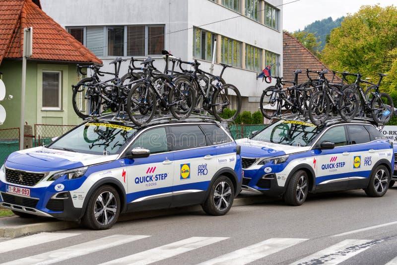Team Quick Step na excursão de Eslováquia 2018 foto de stock