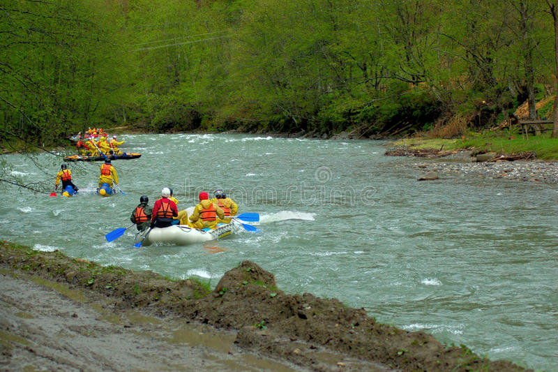 Team rafting. In mountains earl spring royalty free stock photography