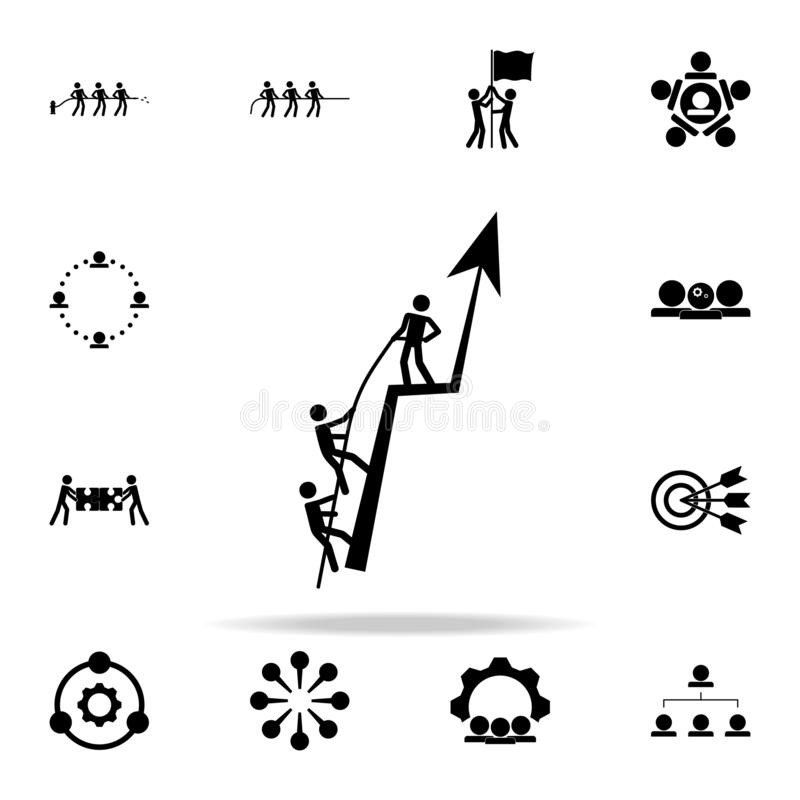 the team raises the company's performance icon. Teamwork icons universal set for web and mobile royalty free illustration