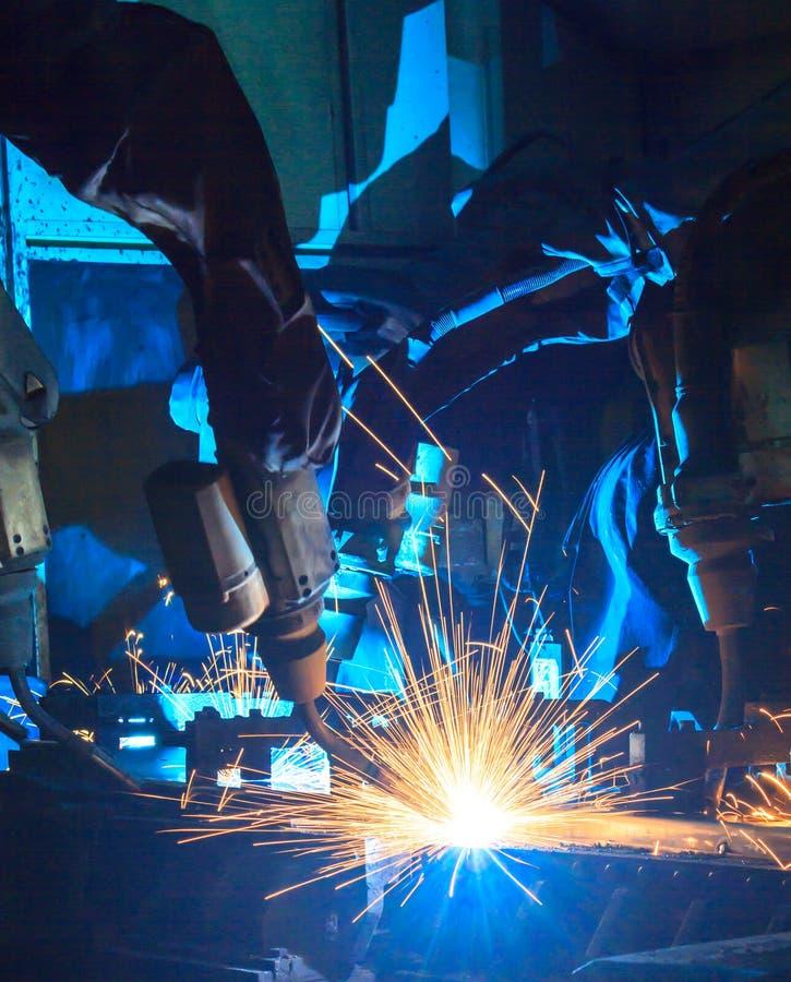 Team Robot welding stock image