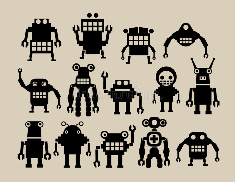 A team of robots royalty free illustration