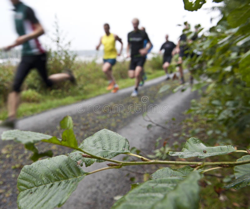 Team running. Running together with other joggers on a gravel road ion a rainy day royalty free stock image