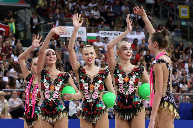 Team Russian Federation Rhythmic Gymnastics fotos de stock royalty free