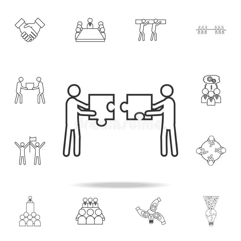 Team sammeln eine Puzzlespielikone Ausführlicher Satz Teamarbeits-Entwurfsikonen Erstklassige Qualitätsgrafikdesignikone Ein der  stock abbildung