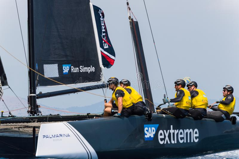 Extreme Sailing Series, Barcelona. Team of SAP extreme racing at barcelona royalty free stock image