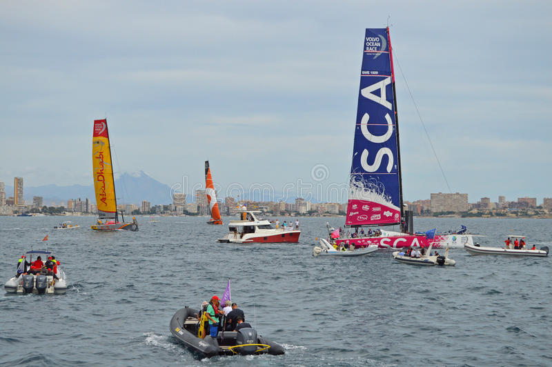 Team SCA Leads Abu Dhabi and Alvimedica In The Volvo Ocean Race royalty free stock photography