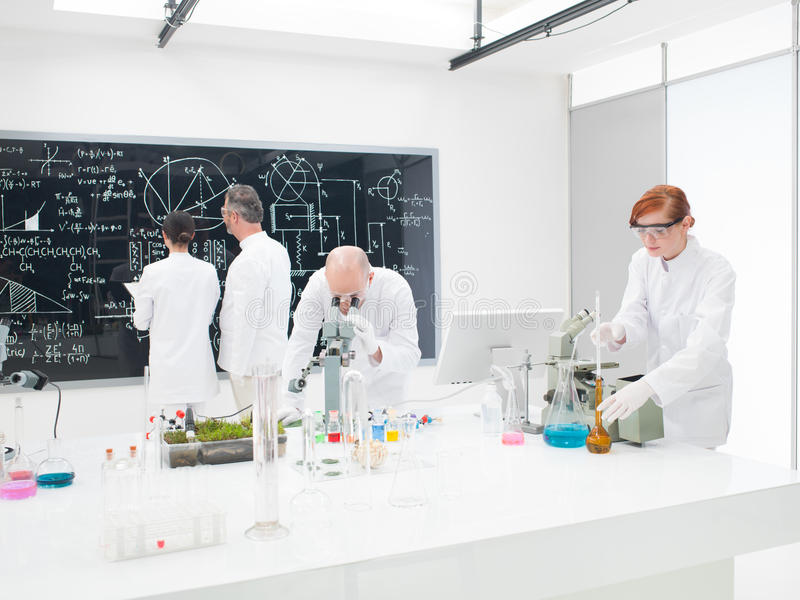 Team of scientists in a laboratory royalty free stock photo