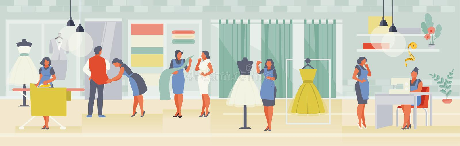 Atelier workshop vector. Team of seamstresses and designers working in the studio. Sewing workshop interior. Vector illustration royalty free illustration