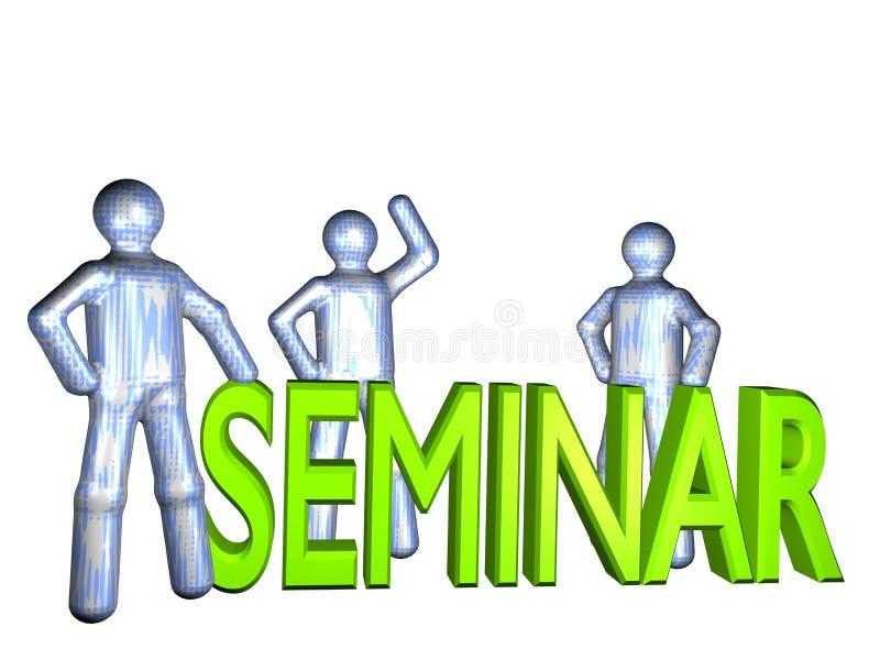 Team seminar. Three illustrated persons standing around the word seminar stock illustration