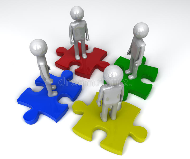 Team on separate jigsaw puzzle pieces. 4 persons on separate jigsaw puzzle pieces royalty free illustration