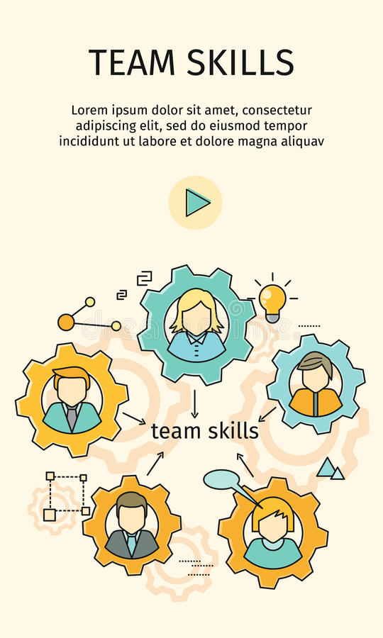 Team Skills Banner. Avatar in Gear. Team building, workshop, training skill, develop ability, expertise, business people teamwork, personal development growth vector illustration