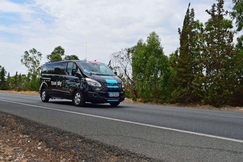 Team Sky Bus La Vuelta España royaltyfria foton