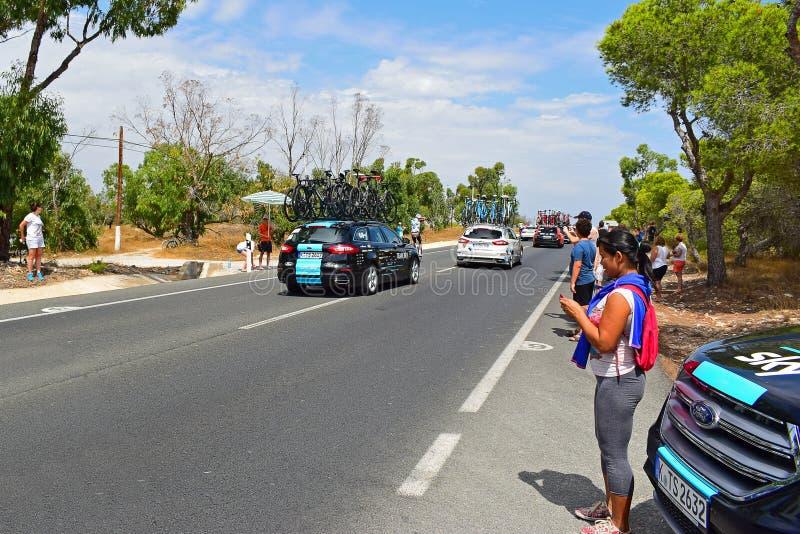 Team Sky Car La Vuelta España lizenzfreie stockfotografie