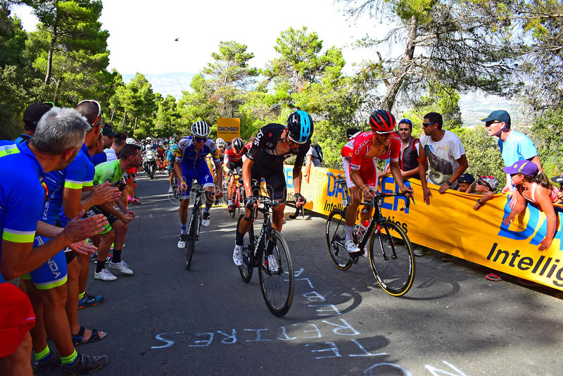 Team Sky Leading Up A Hill La Vuelta España Cycle Race. Riders battle it out near the mountain top finish in the 2017 La Vuelta Espana bike race royalty free stock photo