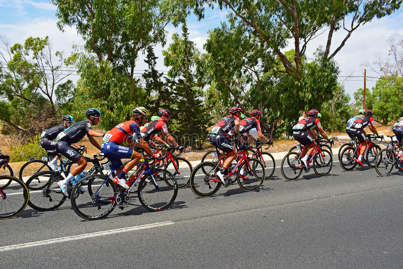Team Sky In The Peleton La Vuelta España. Sky riders In the middle of the peleton on stage 9 of La Vuelta Espana 2017 royalty free stock photography