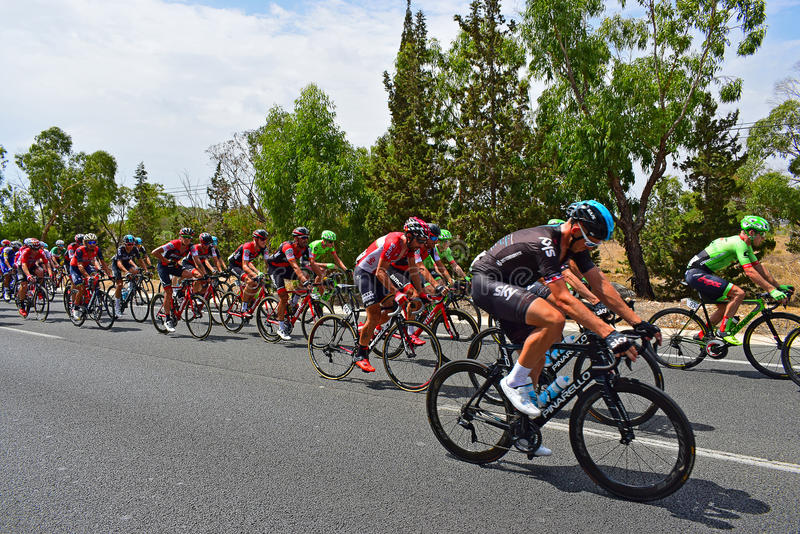 Cycling Peleton La Vuelta España. A team sky rider is the closest rider in the peleton on stage 9 of La Vuelta Espana 2017 royalty free stock photography