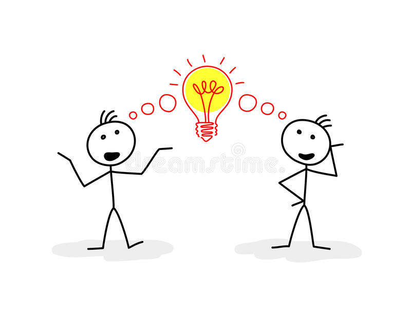 Team solution. Two stylized figures of men talking, and sign of bulb between them vector illustration
