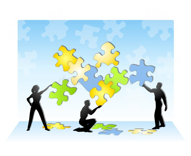 Team Solving a Jigsaw Puzzle royalty free illustration