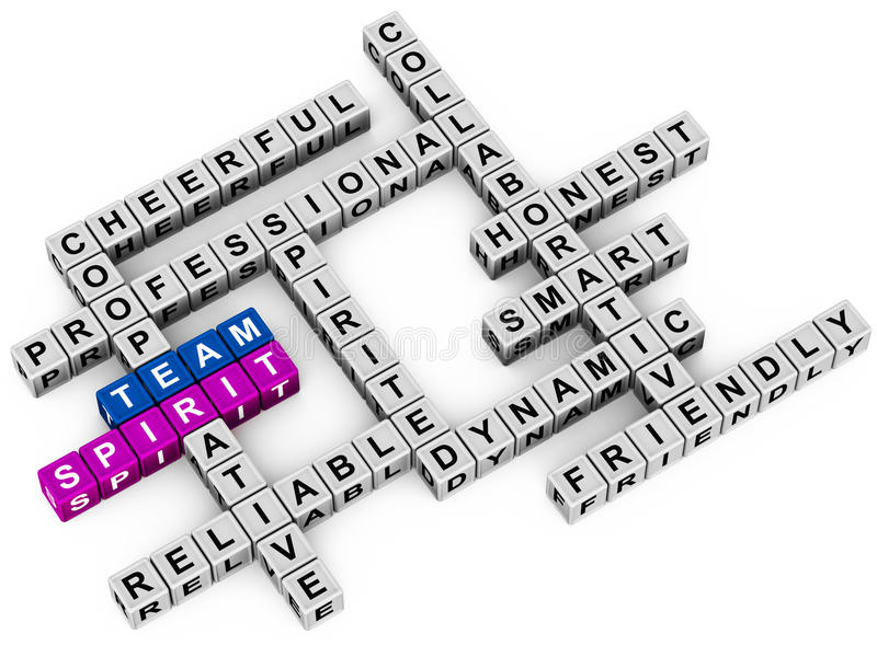 Team spirit. And related words to business and professionalism in a block arrangement crossword vector illustration