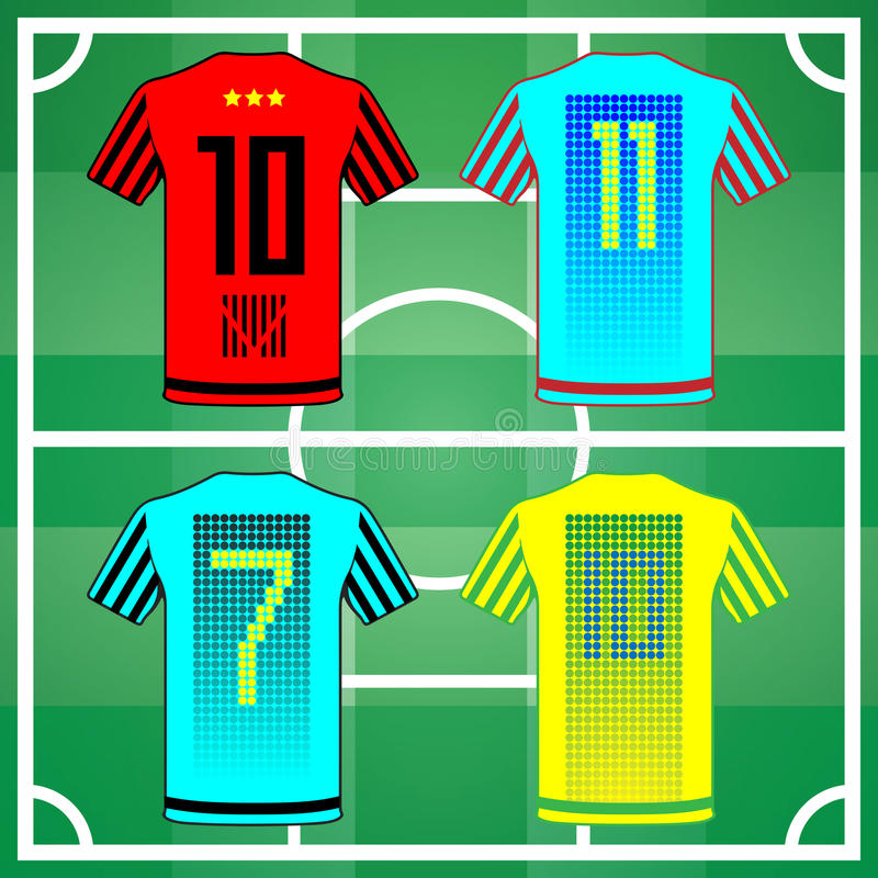 Team Sportswear Uniform. Football Soccer Baseball Volleyball Team Sportswear Uniform. Stylish design for players t-shirts. Four shirts yellow, blue, turquoise royalty free illustration