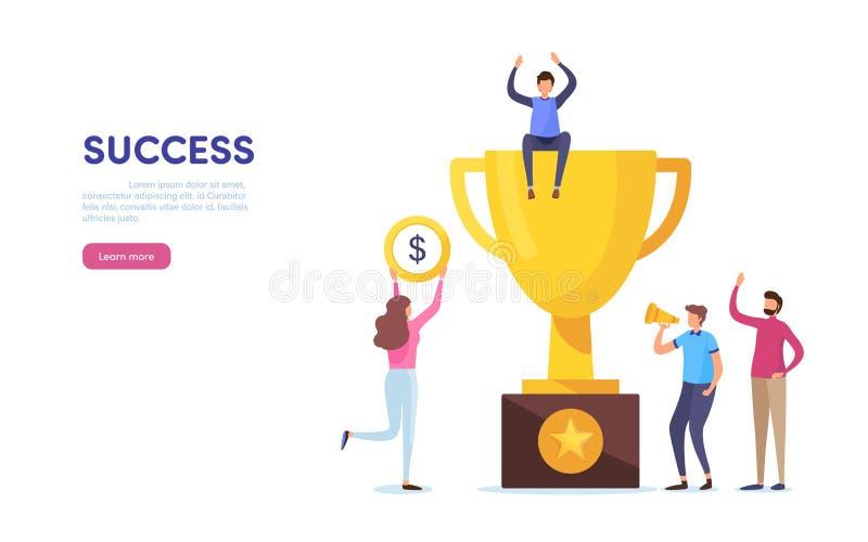 Team success. Teamwork. Together. Miniature people. Cartoon illustration vector graphic. On white background vector illustration