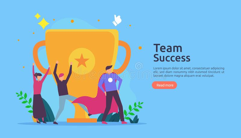 Team success with trophy cup. winning teamwork concept. Together achievement with people character for web landing page template, stock illustration