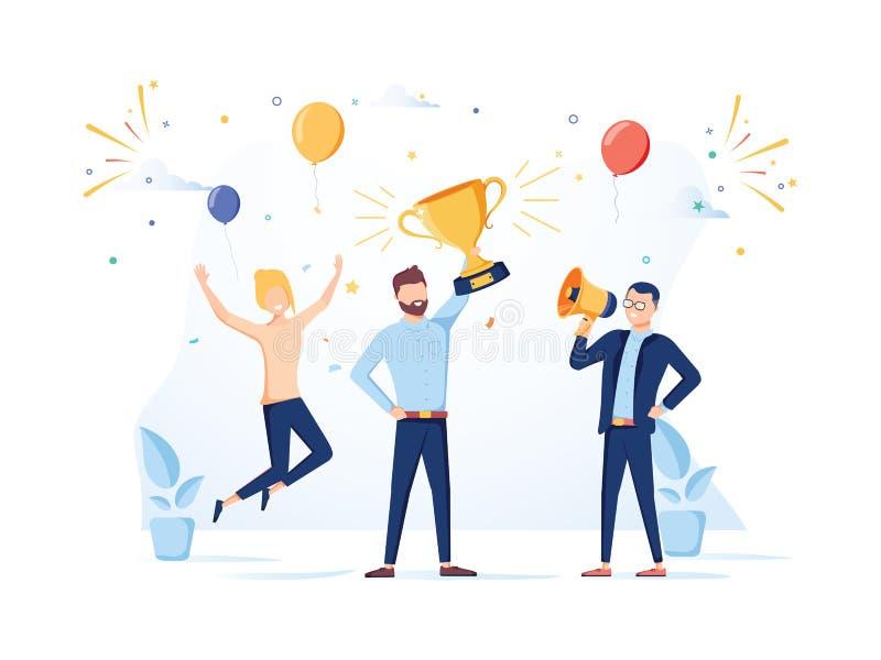 Team Success-Vektorkonzept Geschäftsleute, die Sieg feiern Mann, der Goldschale hält Flache Vektorillustration stock abbildung