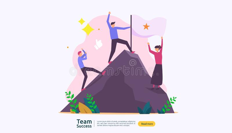 Team success with winning flag on on top of a mountain. teamwork concept with people character for web landing page template, stock illustration