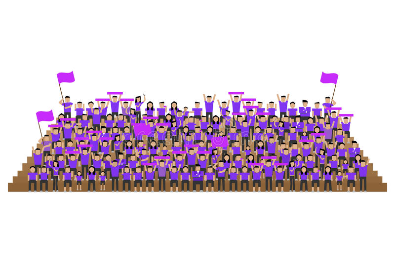 Team supporter in purple shirts kit royalty free illustration