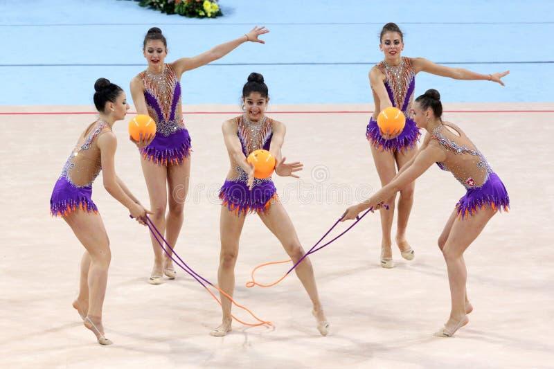 Team Switzerland Rhythmic Gymnastics stock afbeeldingen