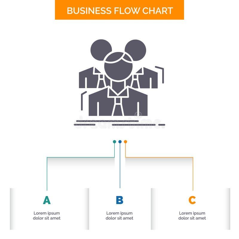 Team, Teamwork, Geschäft, Sitzung, Gruppe Geschäfts-Flussdiagramm-Entwurf mit 3 Schritten Glyph-Ikone f?r Darstellungs-Hintergrun vektor abbildung