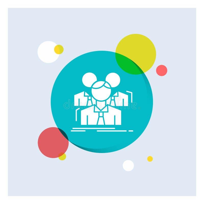 Team, Teamwork, Geschäft, Sitzung, Gruppe weiße Glyph-Ikonen-bunter Kreis-Hintergrund lizenzfreie abbildung