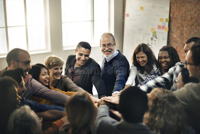 Team Teamwork Join Hands Partnership-Concept royalty-vrije stock afbeelding