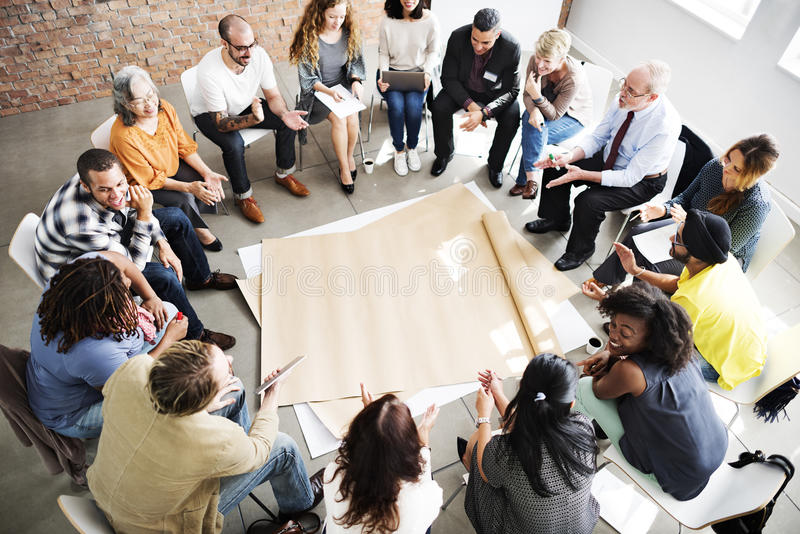Team Teamwork Meeting Start op Concept stock fotografie