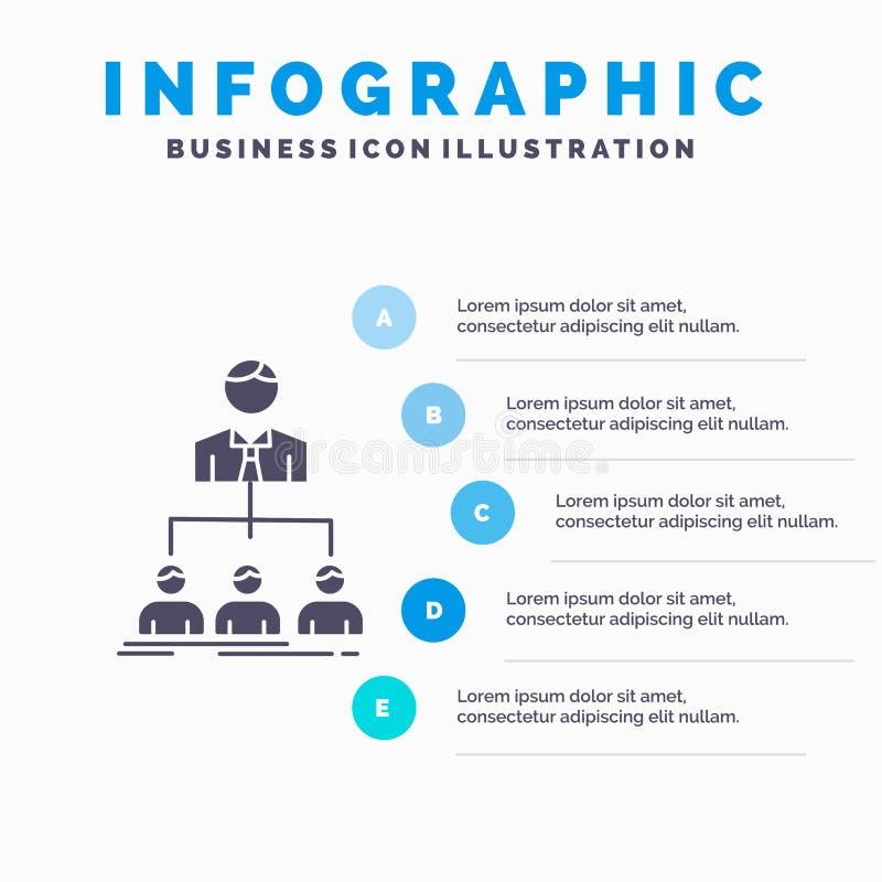 Team, Teamwork, Organisation, Gruppe, Firma-Infographics-Schablone f?r Website und Darstellung Graue Ikone des GLyph mit Blau lizenzfreie abbildung