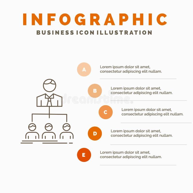 Team, Teamwork, Organisation, Gruppe, Firma-Infographics-Schablone f?r Website und Darstellung Linie graue Ikone mit Orange stock abbildung