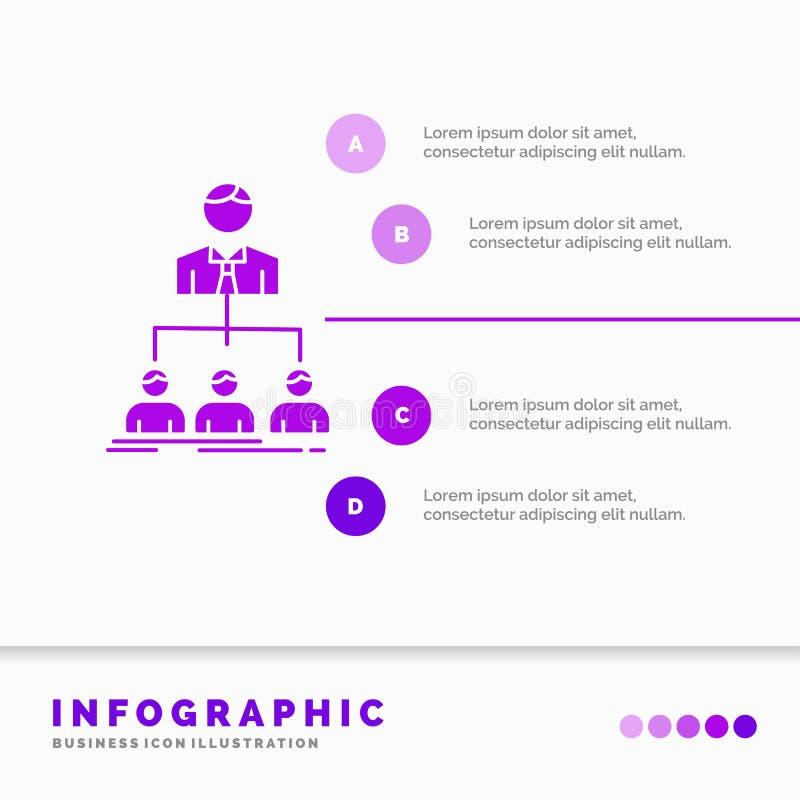 Team, Teamwork, Organisation, Gruppe, Firma-Infographics-Schablone f?r Website und Darstellung Purpurrote Ikone des GLyph infogra vektor abbildung
