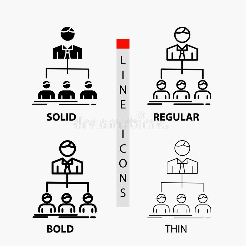 Team, Teamwork, Organisation, Gruppe, Firmaikone in der dünnen, regelmäßigen, mutigen Linie und in der Glyph-Art Auch im corel ab stock abbildung