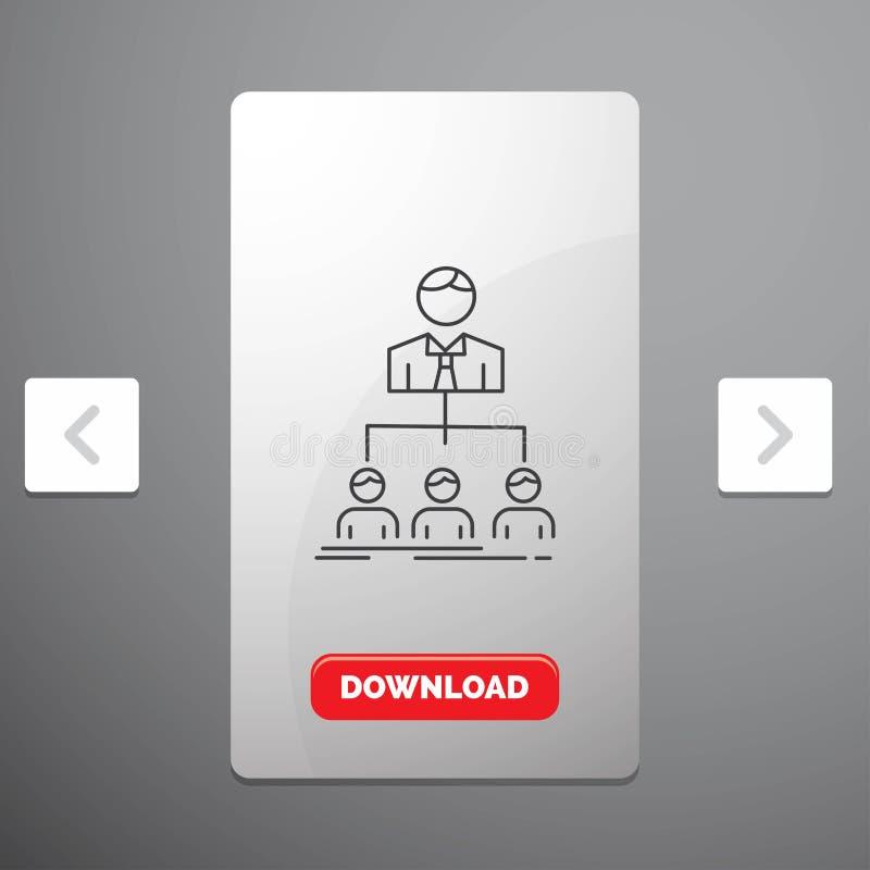 Team, Teamwork, Organisation, Gruppe, Firmalinie Ikone im Carousals-Paginierungs-Schieber-Entwurf u. roter Download-Knopf lizenzfreie abbildung