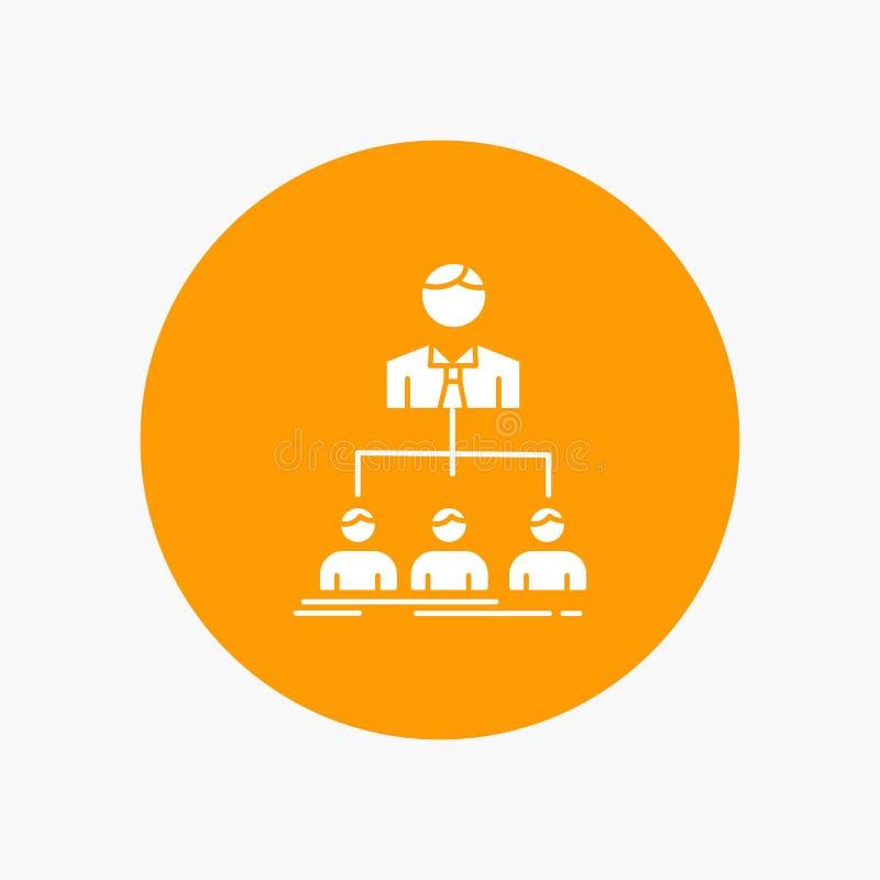 Team, Teamwork, Organisation, Gruppe, Firmaweiße Glyph-Ikone im Kreis Vektor-Knopfillustration vektor abbildung