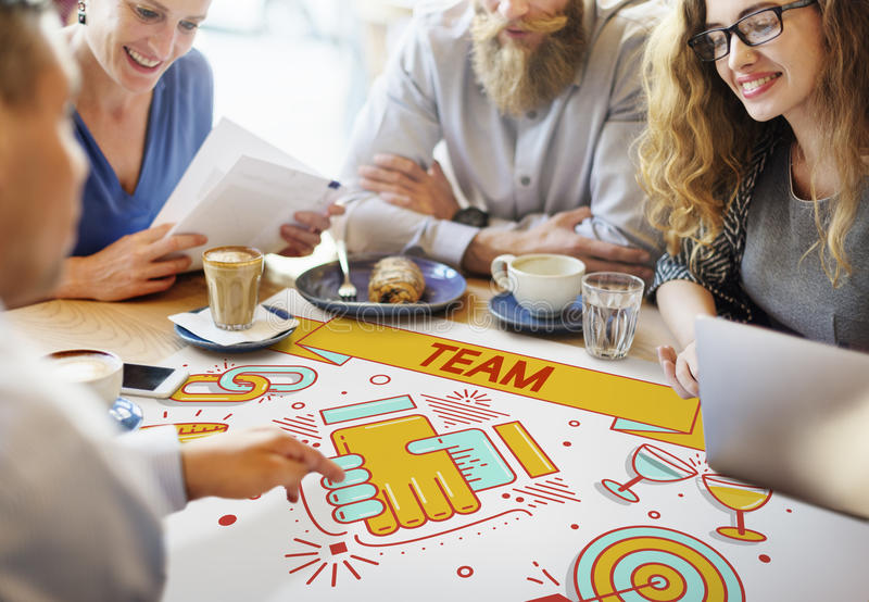Team Teamwork Partnership Collaboration Concept immagini stock libere da diritti