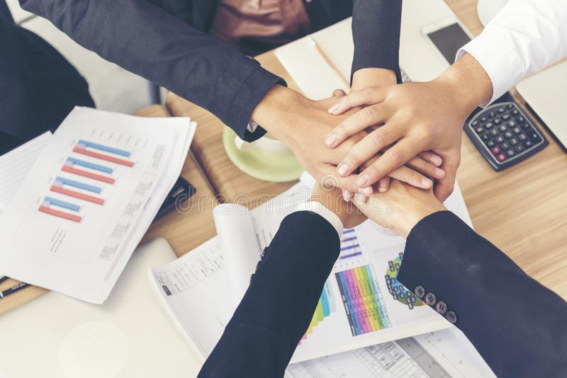 Team Teamwork Shake Hands Partnership Concept. In conference room. Diversity people meeting concept royalty free stock photography