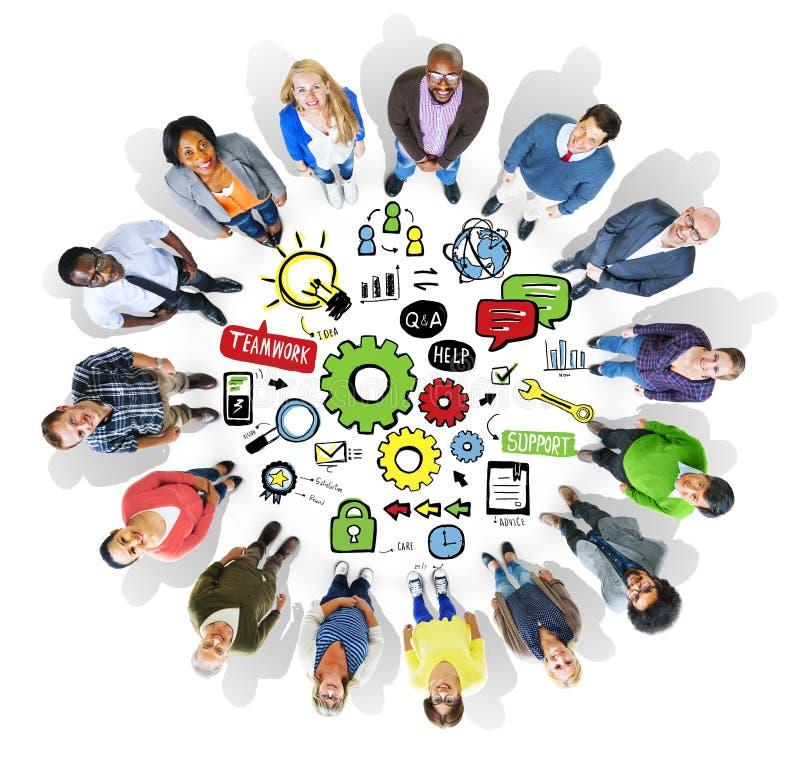 Team Teamwork Support Success Collaboration Cog Unity Concept royalty free illustration