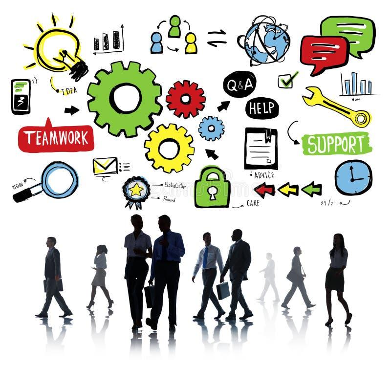 Team Teamwork Support Success Collaboration-het Concept van de Radertjeeenheid royalty-vrije stock foto's