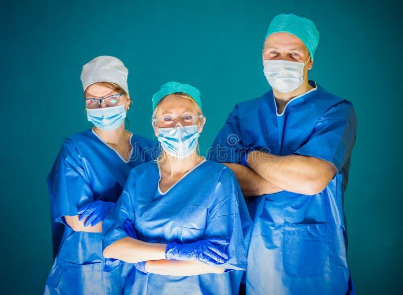 Team of three doctors royalty free stock photos