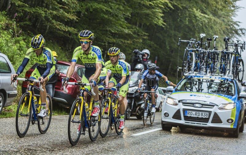 Team Tinkoff - Saxo e Alberto Contador na dor imagem de stock royalty free