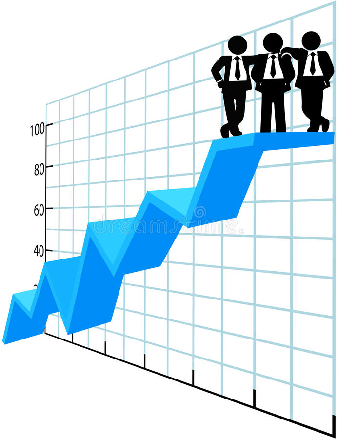 Business people team top sales chart vector illustration