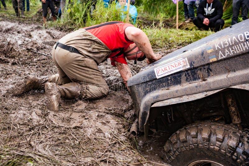 Team on Toyota LandCruiser Prado 70 using sand tracks. royalty free stock photos