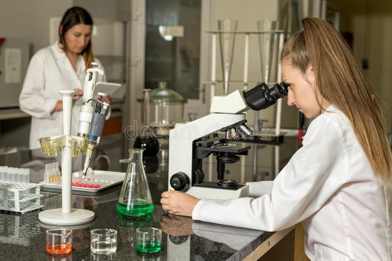 Team of two female laboratory technicians working in chemical or pharmaceutical laboratory royalty free stock photos